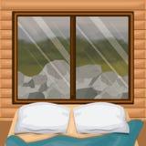 Binnenlandse houten cabine als achtergrond met bed en bosrotsen scenary achter venster royalty-vrije illustratie
