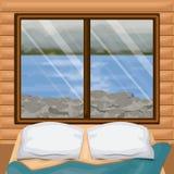 Binnenlandse houten cabine als achtergrond met bed en onduidelijk beeldrivier met rotsen scenary achter venster royalty-vrije illustratie
