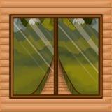 Binnenlandse houten cabine als achtergrond met hangbrug en bos scenary achter venster royalty-vrije illustratie