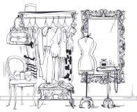Binnenlandse illustratie met vrouwengarderobe Royalty-vrije Stock Foto's