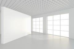 Binnenlandse lege aanplakborden die zich op vloer in witte ruimte bevinden het 3d teruggeven Stock Afbeeldingen
