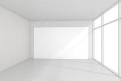 Binnenlandse lege aanplakborden die zich op vloer in witte ruimte bevinden het 3d teruggeven Royalty-vrije Stock Afbeeldingen