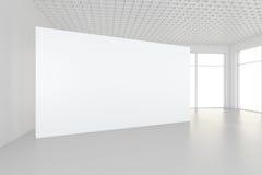 Binnenlandse lege aanplakborden die zich op vloer in witte ruimte bevinden het 3d teruggeven Stock Foto