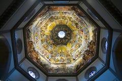 Binnenlandse mening van de Laatste Cyclus van de Oordeelfresko in koepel van Kathedraal van Santa Maria del Fiore, Duomo, Florenc Stock Afbeelding