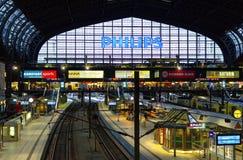 Binnenlandse mening van het belangrijkste station in Hamburg met de sporen op 10 Juli, 2017 in Duitsland Stock Foto's