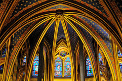 Binnenlandse mening van La sainte-Chapelle (de Heilige Kapel), een koninklijke middeleeuwse Gotische die kapel, dichtbij Palais D Royalty-vrije Stock Foto's