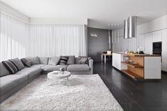 Binnenlandse mening van moderne woonkamer Stock Foto's