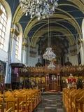Binnenlandse mening van Orthodoxe Parochiekerk van St Barbara in Luik, België stock foto