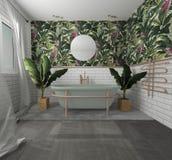 binnenlandse modern geeft palmbadkamers terug stock illustratie