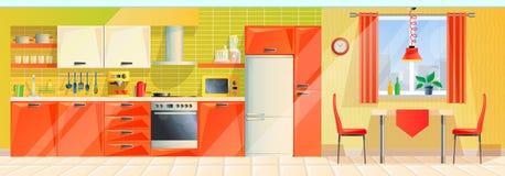 Binnenlandse moderne keukenruimte, panorama, binnenkant met toestellen, meubilair, montage stock illustratie