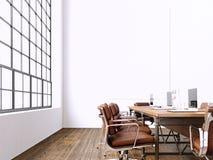 Binnenlandse moderne vergaderzaal met panoramische vensters Leeg Wit Canvas op Muur Generische Ontwerpleunstoel en laptops binnen Royalty-vrije Stock Fotografie
