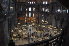 Binnenlandse Moskee Hagia Sophia in Istanboel, Turkije Royalty-vrije Stock Afbeelding