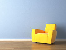 Binnenlandse ontwerp gele leunstoel op blauw Stock Foto