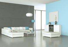 Binnenlandse ontwerp moderne heldere ruimte met witte bank royalty-vrije illustratie