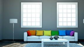 Binnenlandse ontwerp moderne heldere ruimte met witte bank en regenbooghoofdkussens Stock Afbeeldingen