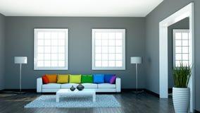 Binnenlandse ontwerp moderne heldere ruimte met witte bank en regenbooghoofdkussens Royalty-vrije Stock Afbeeldingen