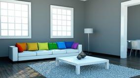 Binnenlandse ontwerp moderne heldere ruimte met witte bank en regenbooghoofdkussens Royalty-vrije Stock Afbeelding