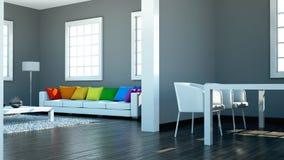 Binnenlandse ontwerp moderne heldere ruimte met witte bank en regenbooghoofdkussens Stock Afbeelding