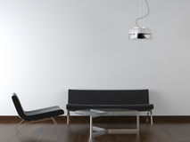 Binnenlandse ontwerp zwarte woonkamer stock afbeeldingen