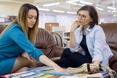 Binnenlandse ontwerper en de volwassen vrouw steekproeven van de aanpassingskleur van stoffen voor gordijnen, huis textielopslag, stock afbeeldingen
