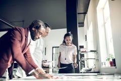 Binnenlandse ontwerper en zijn medewerkers die nieuw belangrijk project plannen stock afbeelding