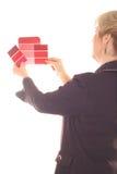 Binnenlandse ontwerpvrouw met het roze van verfsteekproeven Stock Afbeelding
