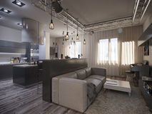 Binnenlandse ontwerpwoonkamer met keuken Stock Afbeelding