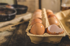 Binnenlandse organische eieren Royalty-vrije Stock Afbeeldingen