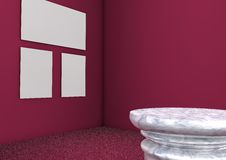 Binnenlandse scèneruimte met voetstuk Royalty-vrije Stock Foto