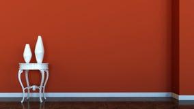 Binnenlandse scène met rode muur Royalty-vrije Stock Foto's