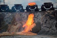 Binnenlandse slakkenlossing bij de ijzergieterij, industrieel landschap stock afbeeldingen