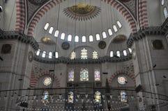 Binnenlandse Suleymaniye-Moskee in Istanboel Turkije Royalty-vrije Stock Afbeelding