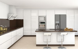 Binnenlandse witte en bruine keuken Stock Afbeelding