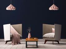 Binnenlandse woonkamer met lege muren, stoel en lamp het 3D Teruggeven, 3D Illustratie Stock Afbeelding