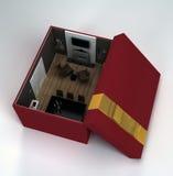 Binnenlandse zitkamerruimte in een giftdoos Royalty-vrije Stock Fotografie