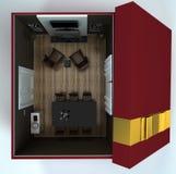 Binnenlandse zitkamerruimte in een giftdoos Royalty-vrije Stock Foto's