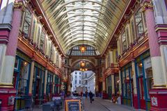 Binnenleadenhall-Markt op Gracechurch-Straat in Londen, Engeland stock afbeelding
