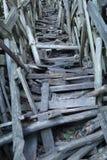 Binnenmening van de houten toren van Nimis Stock Foto