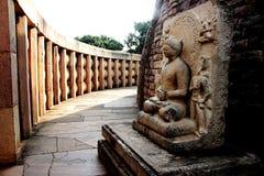 Binnenpassage van Stupa, Sanchi Stock Afbeeldingen