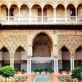 Binnenplaats in Alcazar Stock Foto's