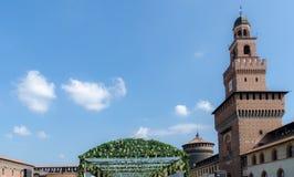 Binnenplaats in Sforzesco-Kasteel in Milaan, royalty-vrije stock fotografie