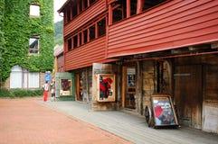 Binnenplaats van Bryggen gebouwen, Bergen, Noorwegen Royalty-vrije Stock Foto