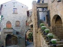 Binnenplaats van de middeleeuwse stad van Viterbo met sommige trappen met vazen van witte bloemen Italië Royalty-vrije Stock Afbeeldingen