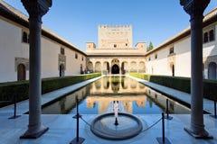 Binnenplaats van de Mirte, Patio DE los Arrayanes, in Alhambra, G stock fotografie