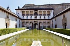Binnenplaats van de Mirte, Patio DE los Arrayanes, in Alhambra, G Royalty-vrije Stock Afbeelding
