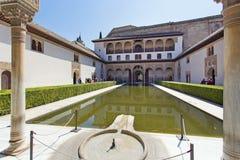 Binnenplaats van de Mirte, Patio DE los Arrayanes, in Alhambra, G Stock Afbeelding