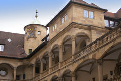 Binnenplaats van de Oude Kasteel 10de eeuw in Stuttgart Royalty-vrije Stock Afbeelding