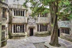 Binnenplaats van een middeleeuws Skipton-Kasteel, Yorkshire, het Verenigd Koninkrijk stock foto