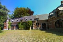 Binnenplaats van een renaissanceplattelandshuisje Stock Foto