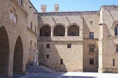 Binnenplaats van het Paleis van de Grote Meester, Rhodos Stock Foto's